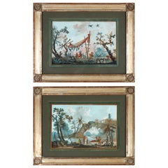 Pair of Gouache Chinoiseries in the Style of Jean-Baptiste Pillement