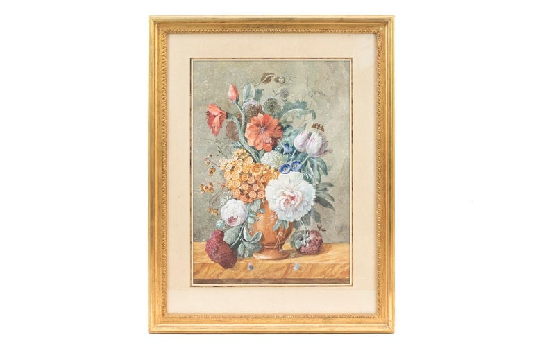 Carved Pair of Gouaches Framed Flowers Basket, Late 19th Century For Sale