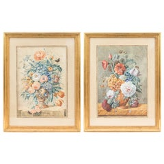 Pair of Gouaches Framed Flowers Basket, Late 19th Century