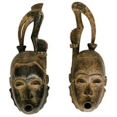Pair of Gouro Guro Tribe Style African Masks