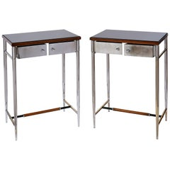 Pair of Graceful Chromed Side Tables, Italy, 1930s
