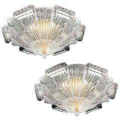 Pair of Graceful Italian Murano Glass Leave Flush Mount or Ceiling Lights