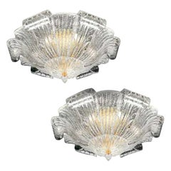 Pair of Graceful Italian Murano Glass Leave Flushmount or Ceiling Lights