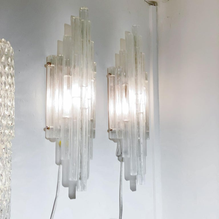 Mid-Century Modern Pair of Graduated Frosted Glass Strip Sconces For Sale