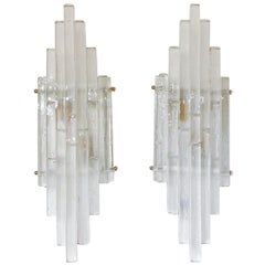 Pair of Graduated Frosted Glass Strip Sconces