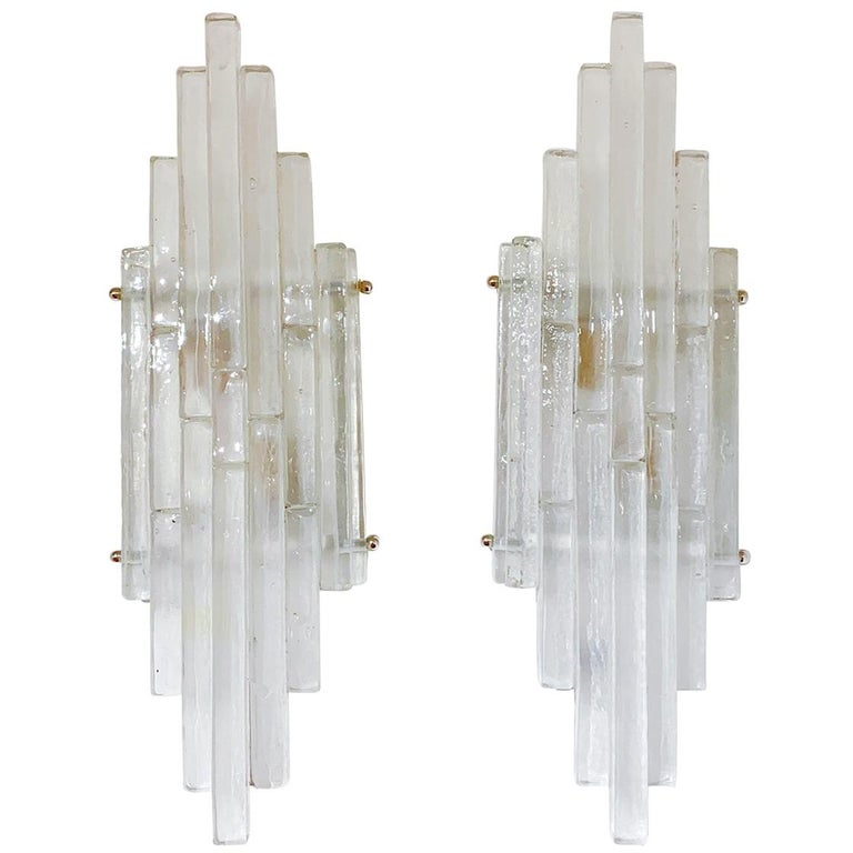 Pair of Graduated Frosted Glass Strip Sconces For Sale