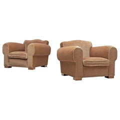 Pair of Grand Art Deco Lounge Chairs in Taupe Velvet by Maurice Rinck
