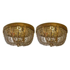 Pair of Grand Hollywood Regency Flushmount Chandeliers