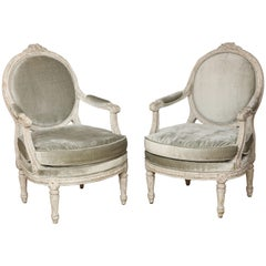 Pair of Grand Italian Neo-Classic Painted Open Armchairs