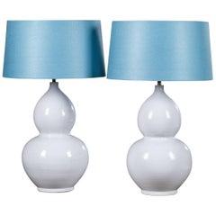 Pair of Grand Modern Double Gourd Handmade Vases as Custom Lamps