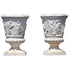 Pair of Grand Neoclassical Style Garden Urns