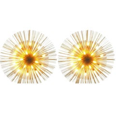 "Pair of Grand ""Nest"" Flush Lights by C Jere"