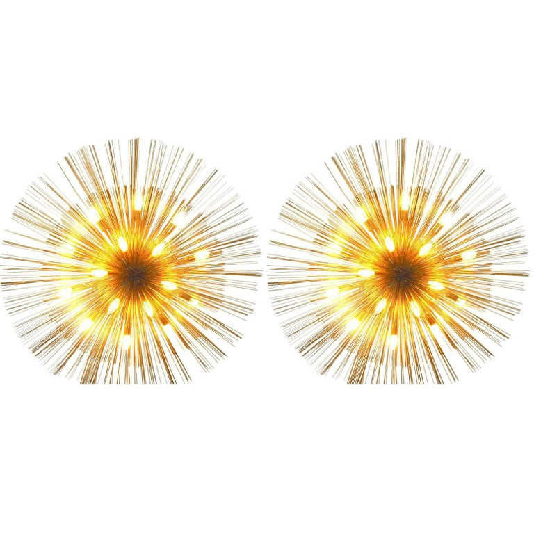 "Pair of Grand ""Nest"" Flush Lights by C Jere For Sale"