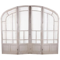 Pair of Grand-Scale Arched Glass-Paneled Double Doors