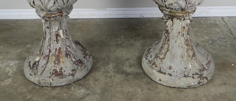 Pair of Grand Scale Carved Wood Painted Flamed Finial Urns For Sale 2