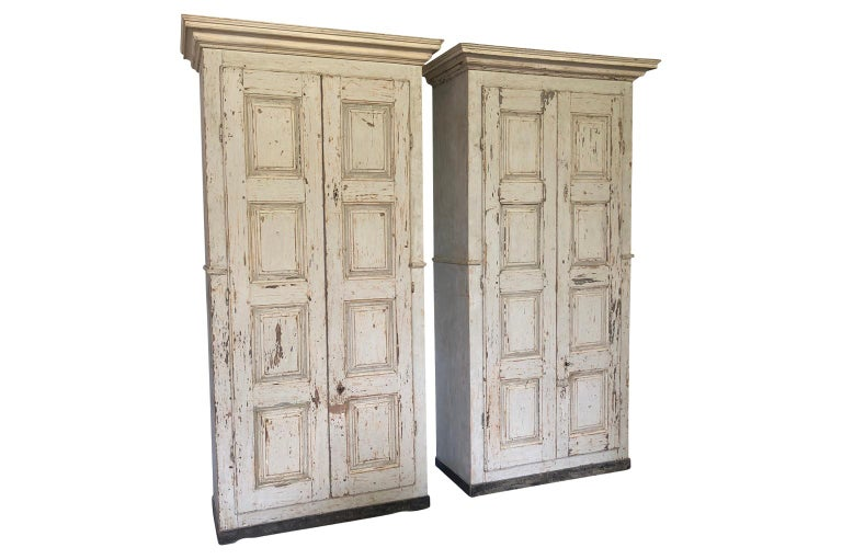 Wood Pair of Grand Scale Italian Armoires For Sale