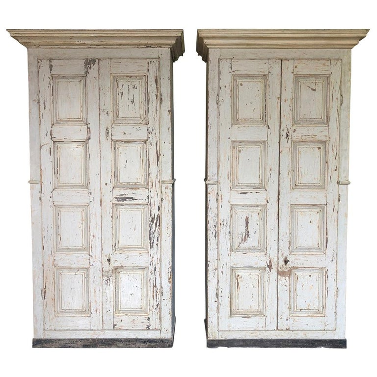 Pair of Grand Scale Italian Armoires For Sale