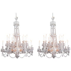Pair of Grand Scale Mid-Victorian 24-Light Cut-Crystal Chandeliers