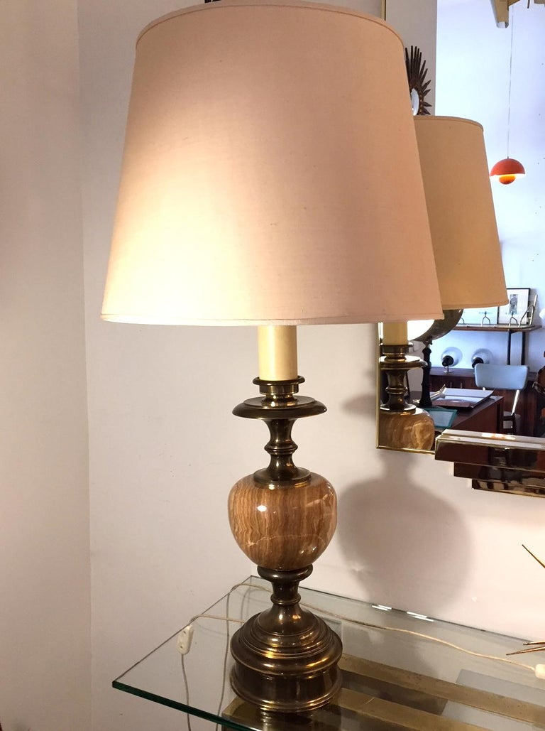 Mid-Century Modern Pair of Grand Spanish 1970 Alabaster Table lamps For Sale