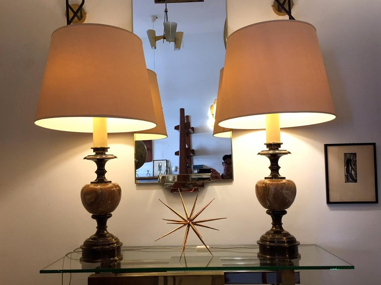 Pair of Grand Spanish 1970 Alabaster Table lamps In Good Condition For Sale In Madrid, ES