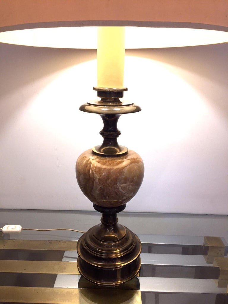 Late 20th Century Pair of Grand Spanish 1970 Alabaster Table lamps For Sale