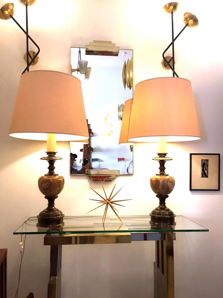 Brass Pair of Grand Spanish 1970 Alabaster Table lamps For Sale