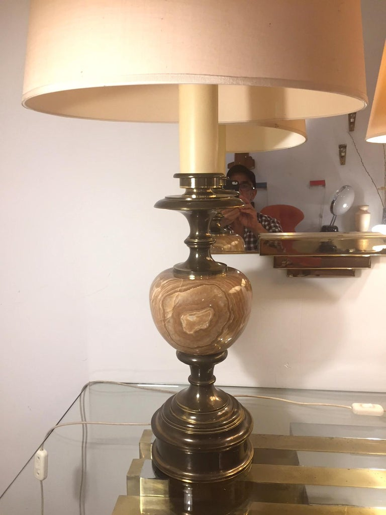 Pair of Grand Spanish 1970 Alabaster Table lamps For Sale 2