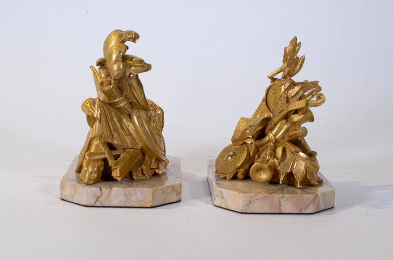 Louis XVI Pair of Grand Tour Armorial Dore Bronze Bookends/Paperweights For Sale