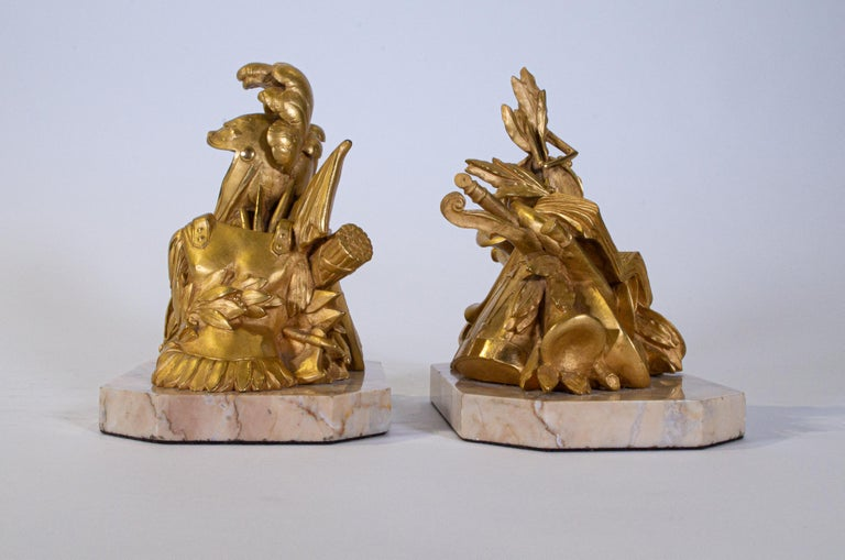 French Pair of Grand Tour Armorial Dore Bronze Bookends/Paperweights For Sale
