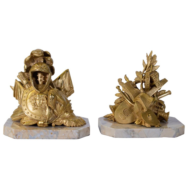 Pair of Grand Tour Armorial Dore Bronze Bookends/Paperweights For Sale