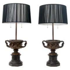 Pair of Grand Tour Bronze Table Lamps