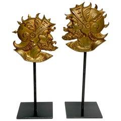 Pair of Grand Tour Gilt Bronze Roman Solider Portrait Medallions