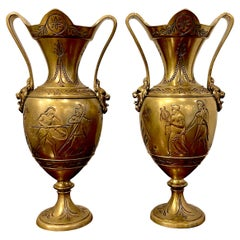 Pair of Grand Tour 'Néo-Grec' Gilt Bronze Vases, Attributed, F. Barbedienne