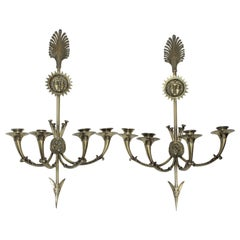 Pair of Grand Tour Neoclassic 4-Candle Sconces