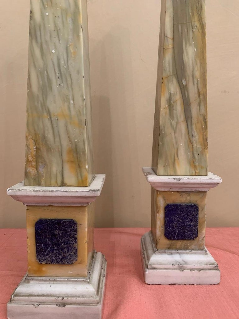 Hand-Crafted Pair of Grand Tour Obelisks For Sale