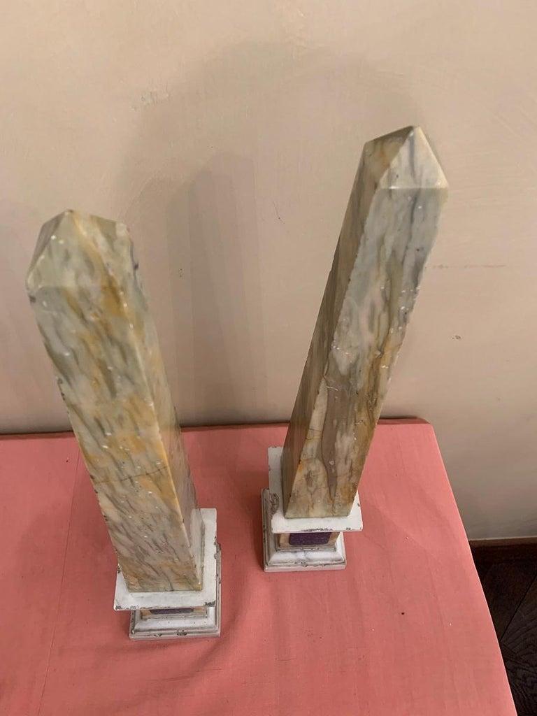 Onyx Pair of Grand Tour Obelisks For Sale