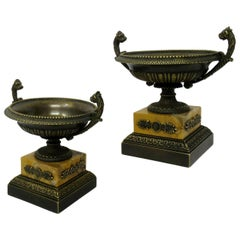 Pair of Grand Tour Ormolu Bronze Sienna Marble Tazzas Urns Vases, 19th Century
