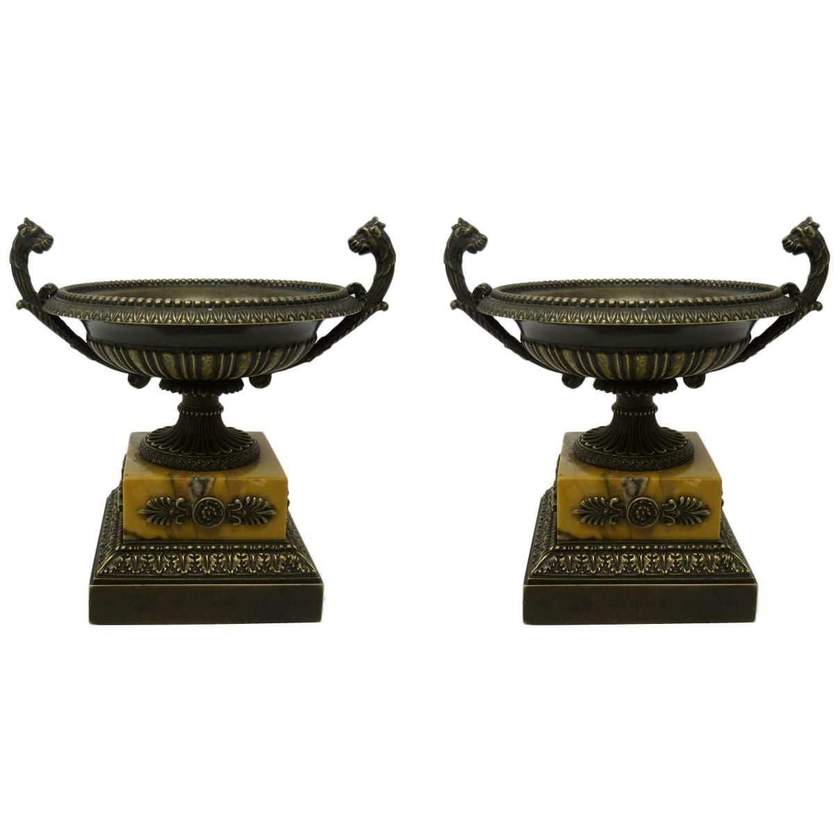 Pair of Grand Tour Ormolu Bronze Sienna Marble Tazzas Urns Vases, 19th Century