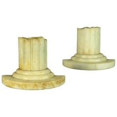Pair of Grand Tour Style Alabaster Bookends in the Form of Classical Ruins