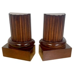Pair of Grand Tour Style Carved Mahogany Fluted Column Bookends