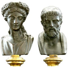 Pair of Grand Tour Style Miniature Bronze Busts, Continental, circa 1900