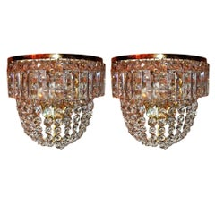 Pair of Grand Wall Sconces by Ch. Palme, Germany, 1960s, Cut Crystal and Brass