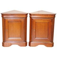 Pair of Grange Paris Handmade in France Cherrywood Corner Cupboards Cabinets