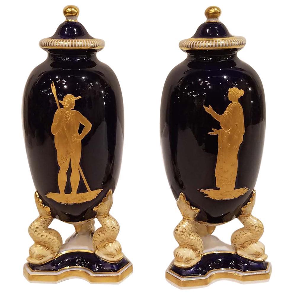 Pair of Granger & Co. Worcester Porcelain Covered Vases