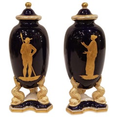 Pair of Granger & Co. Worcester Porcelain Covered Vases