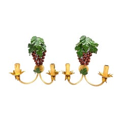 Pair of Grape and Leaf Tole Sconces Polychrome Metal, 1960s, Italy