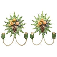 Pair of Grape, Fruits and Leaf Tole Sconces Polychrome Metal, 1960s, Italy