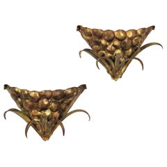 Pair of Wall Sconces in Gilt Metal with Bunch of Grapes Design