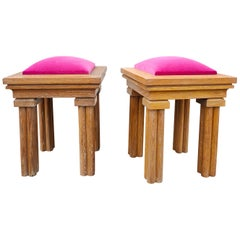 Pair of Graphic Solid Cerused Oak Stools with Sharp Pink Velvet Cushions, 1980s