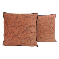 Pair of Graphic Tribal Peruvian Textile in Orange and Black Decorative Pillows